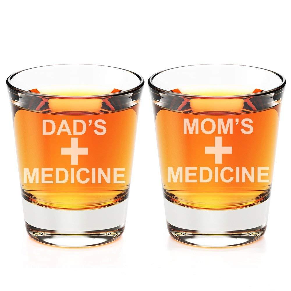 Dad's Medicine and Mom's Medicine Engraved Fluted Shot Glass