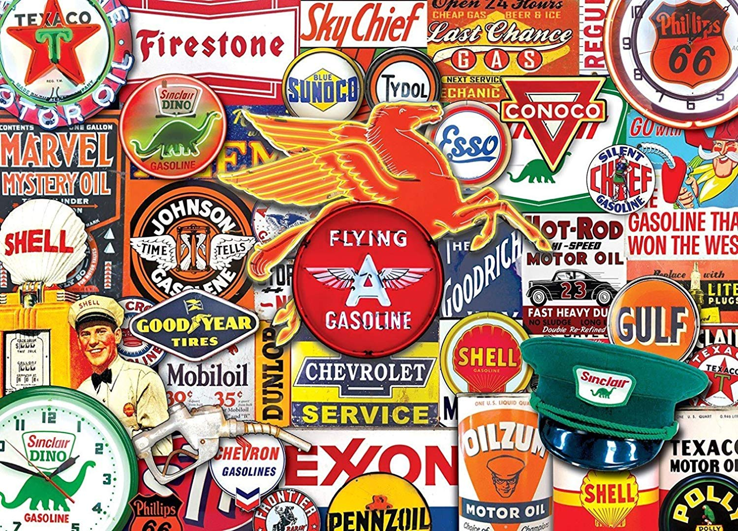 MasterPieces Flashbacks Hit the Road Jack Classic Gas Signs Collage Jigsaw Puzzle, 1000-Piece