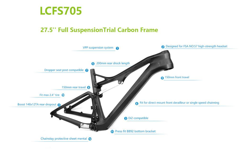 27 5er Full Carbon Suspension Mountain Bike Frame With Vpp