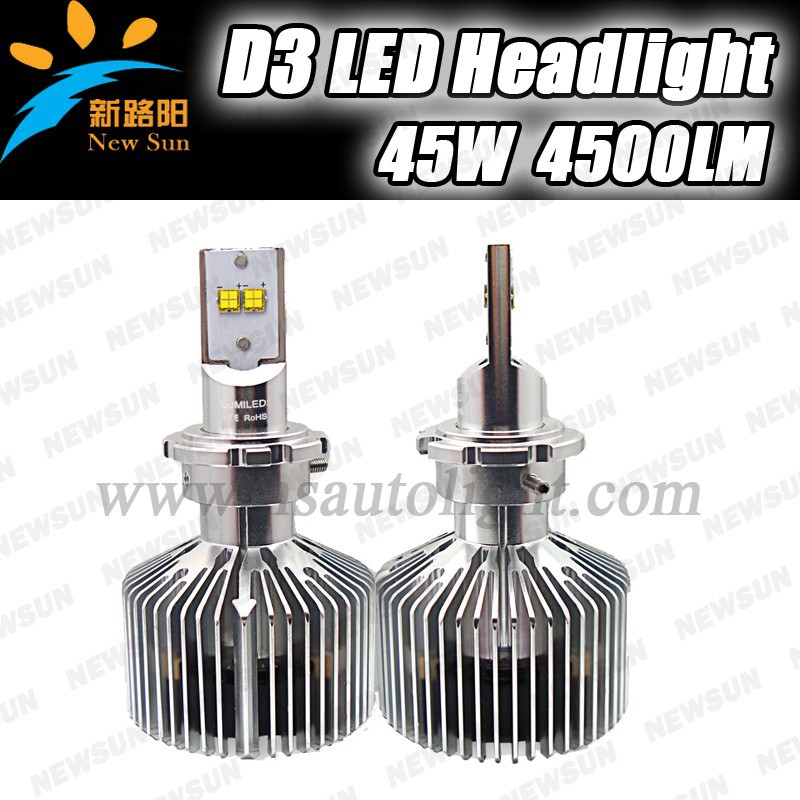 4500LM 45W High power super bright LED type D series adjustable headlight D3 D4 D2 D1 (R/S) available, 6000k car led headlight k
