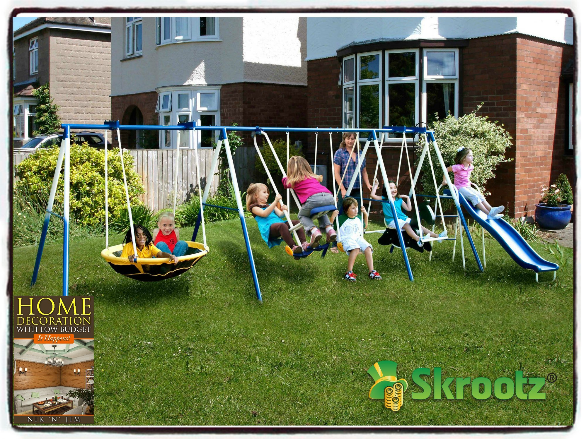 Buy Metal Swing Set Outdoor Patio Swings Kids Slide Backyard