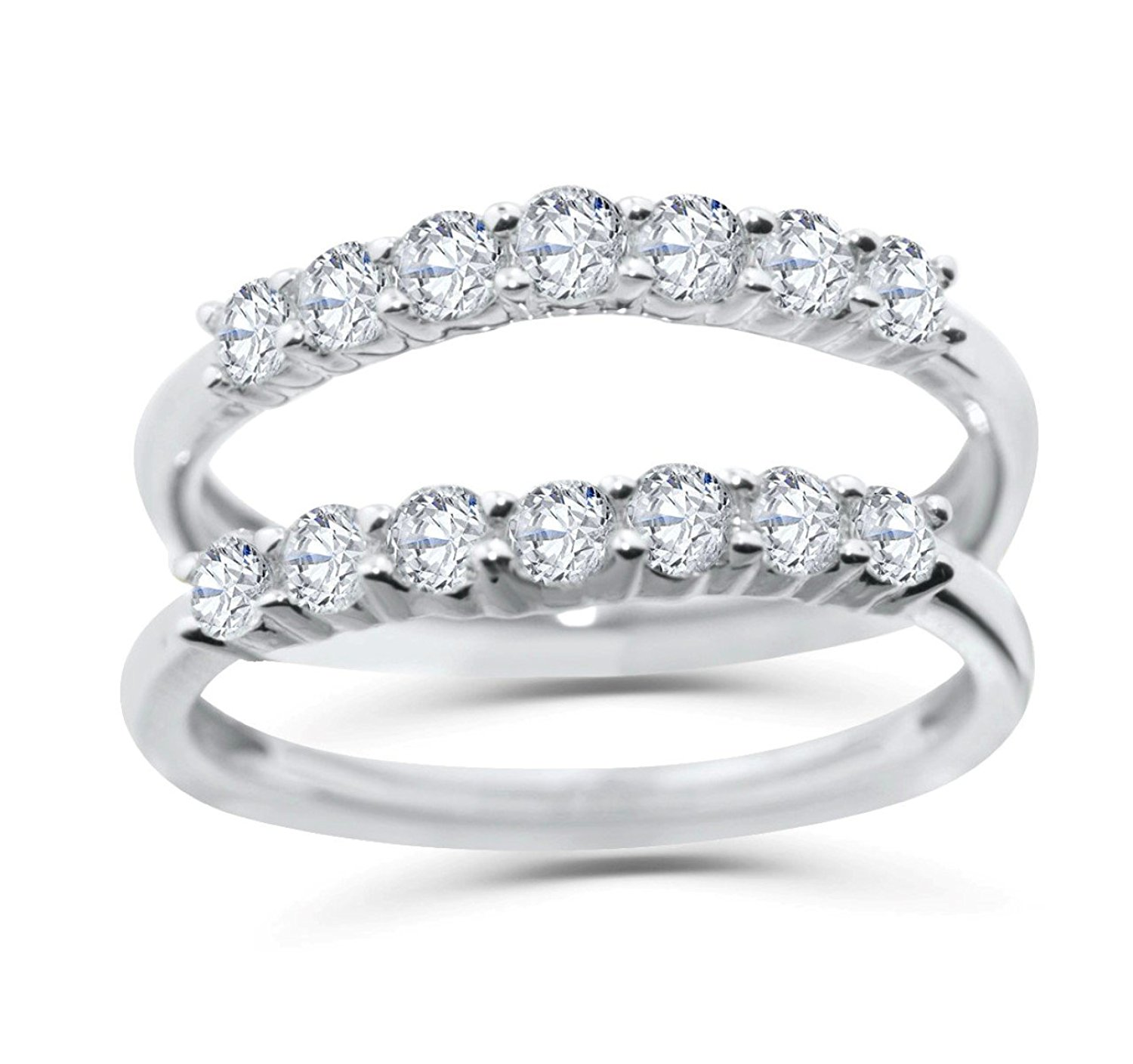 Midwest Jewellery 14K White Gold Jacket Ring Guard 3/4ctw Diamonds Wedding Band