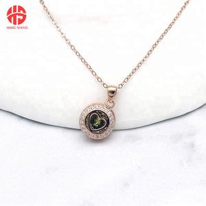 Latest Design Gold/Platinum Plated Round Charm Heart Pendant Necklace With Green Zircon