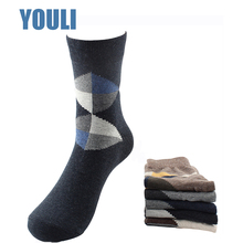 China manufacture custom argyle design cotton colored men dress socks happy socks