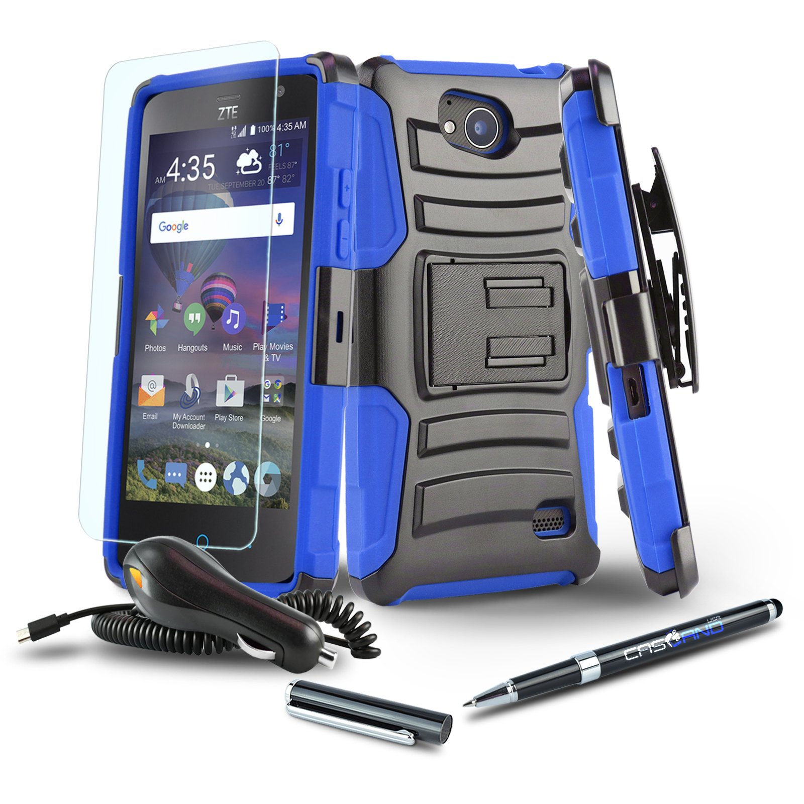 [Alcatel IdealXcite][Alcatel Raven LTE] Case, CaselandUSA [Refined Series][Blue] Shockproof [Defender] Dual Layer [Kickstand] Phone Cover with [Swivel Belt Clip Holster]