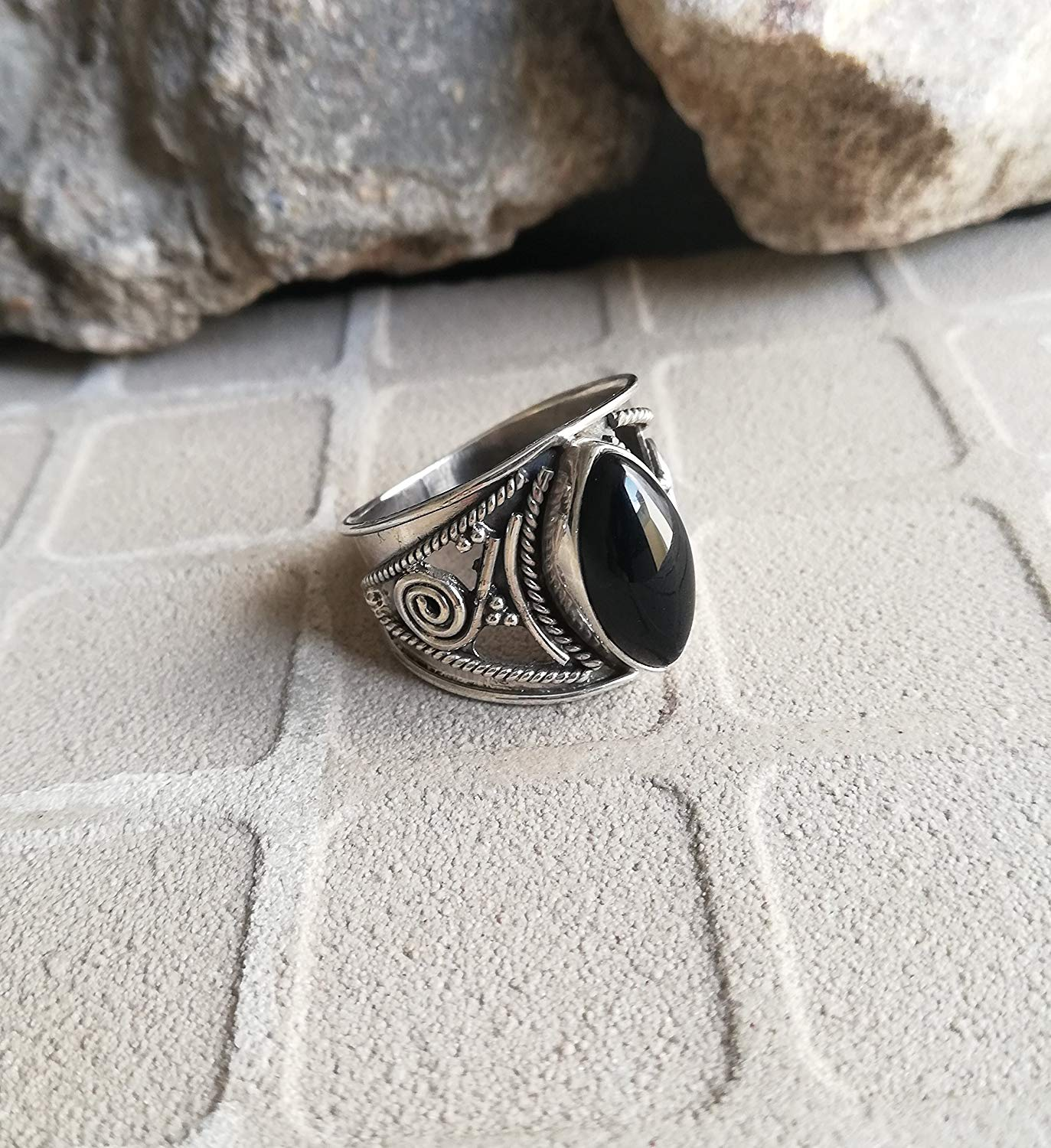 Black Onyx Ring, 925 Sterling Silver, Wide Band Ring, Designer Ring, Antique Ring, Victorian Ring, Promise Ring, Friendship Silver Ring, Classy Ring, Petite Ring, Boho Style Ring, US All Size Ring