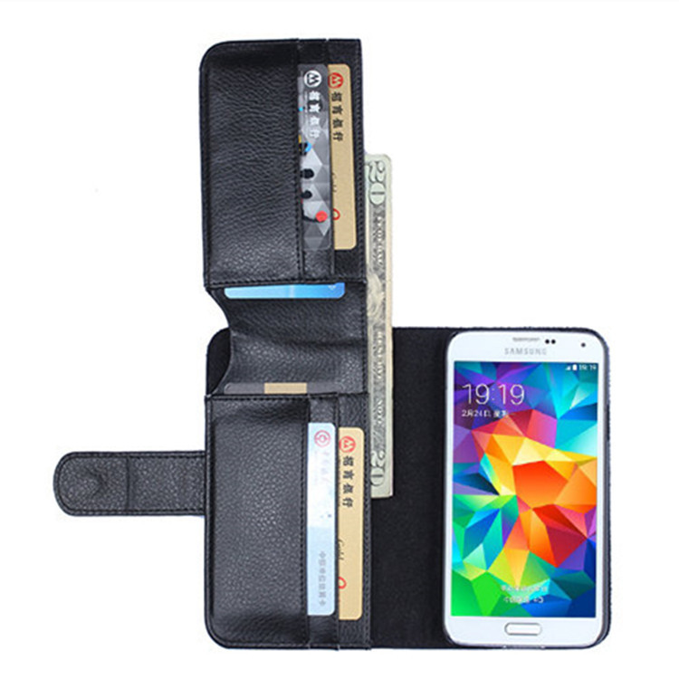 Quality Luxury PU Leather Wallet Bag Phone Case For Samsung Galaxy S5 V i9600 With Frame Card Cover For Samsung Galaxy S5