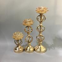 Antique metal christmas tree candelabra gold votive candle holder