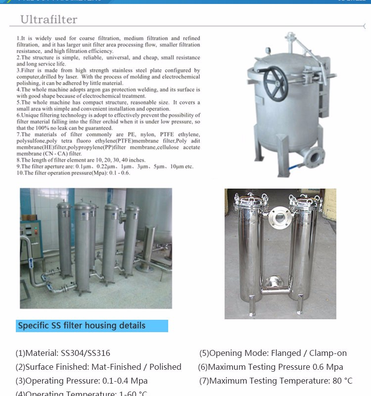 High Pressure Capability Ss Charcoal Water Filter Solving