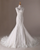 white satin appliqued beaded lace sleeveless wedding dresses