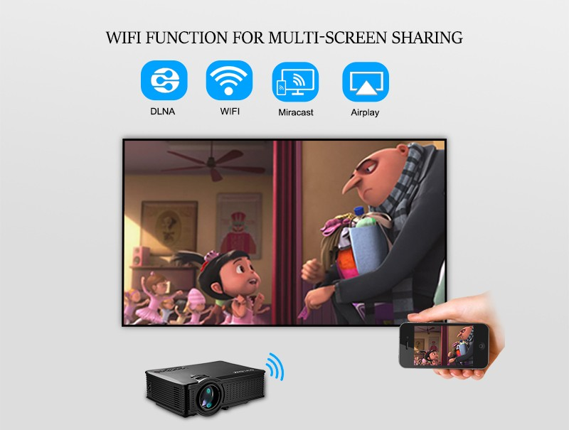 Pocket Mini Wifi LCD Projector Support Iphone / IPad /Smart Phone Miracast / Wireless Display