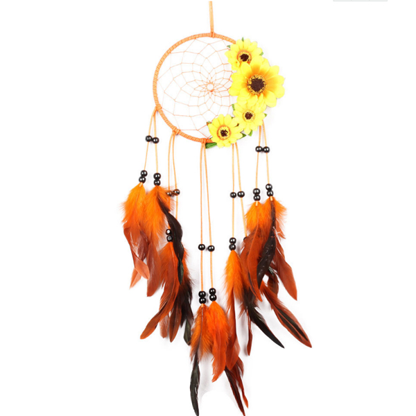 3582 new sunflower villager style hot sale dream catcher feather pendant fashion diy bedroom decor