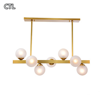 Nordic glass restaurant LED lamp copper art molecular decoration pendant light creative personality magic bean chandelier