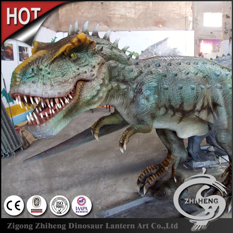 Realistic real size colorful robotic artificial dinosaur