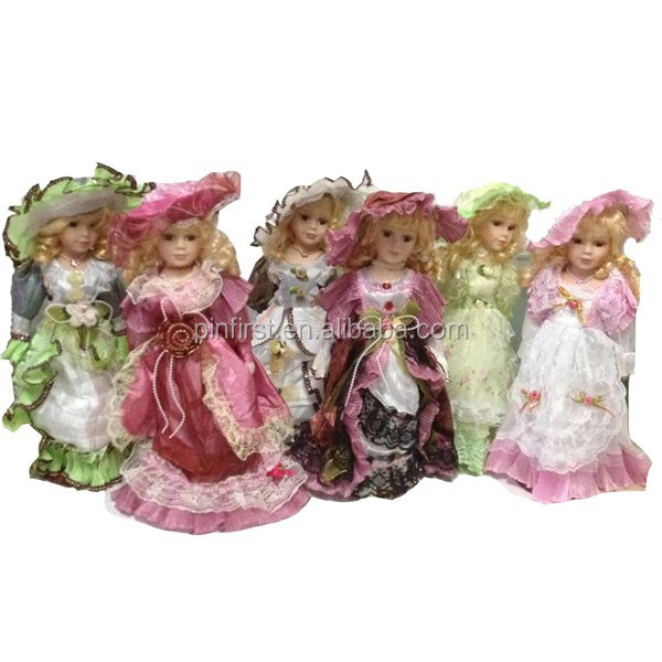 "16""Hot Selling 6 colours Wholesale Fashion Handmade Porcelain <strong>Doll</strong>"