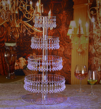 Pre-Installed Crystal Beads- 5 Tier Acrylic Cupcake Tower Stand with Hanging Crystal Bead-wedding Party Cake Tower (5 Tier With