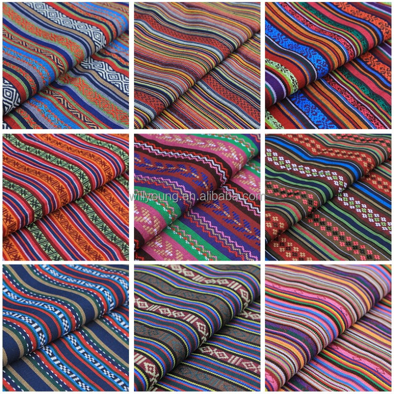 chinese fabric with color fringe patterns geometric spot line traditional Lijiang STYLE fabrics polyester cotton mix knit weave