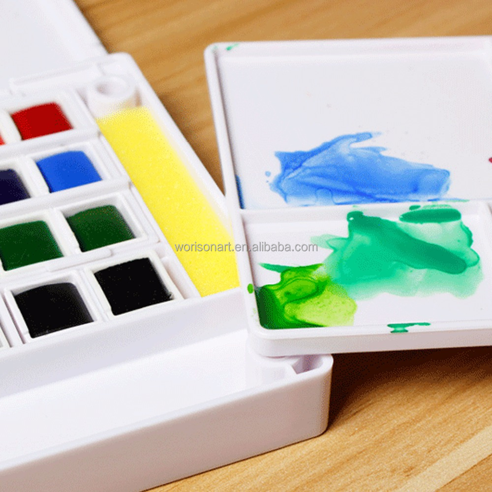 24colors water color paint set Art drawing Solid pigment with plastic box and palette