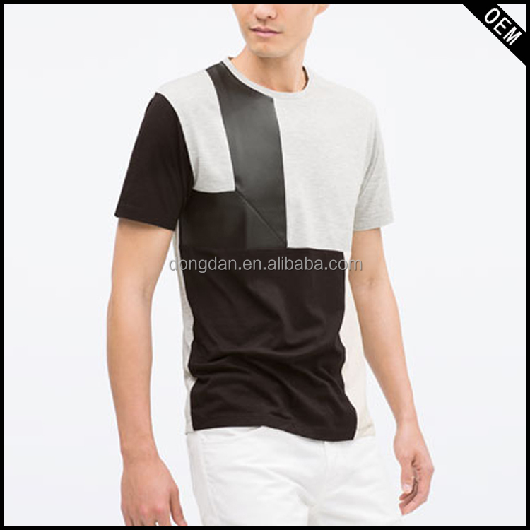 wholesale clothing short sleeve skinny fit faux leather PU leather patches t shirt for men