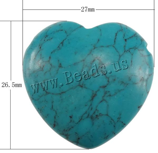 Free shipping!!!Turquoise Beads,Wedding Jewelry, Heart, blue, 27x26.50x9mm, Hole:Approx 1.5mm, 50PCs/Lot, Sold By Lot