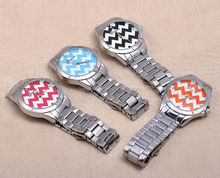 2014 new arrival vintage geneva chevron unisex stainless steel watch