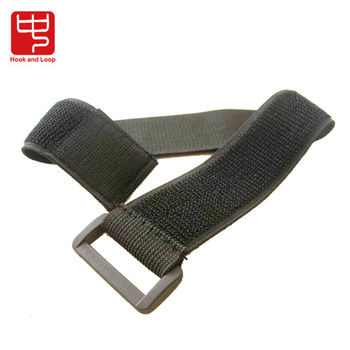 Buckle elastic nylon strap with sew hook and loop fastener