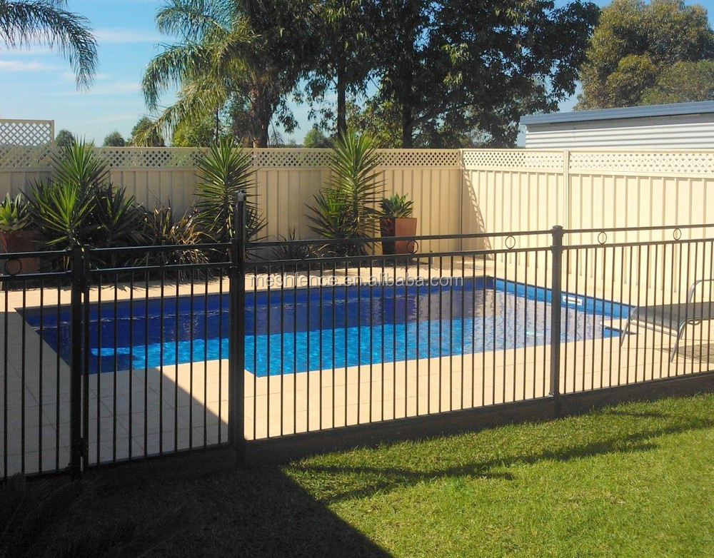 Wrought iron railings modern house swimming pool fence