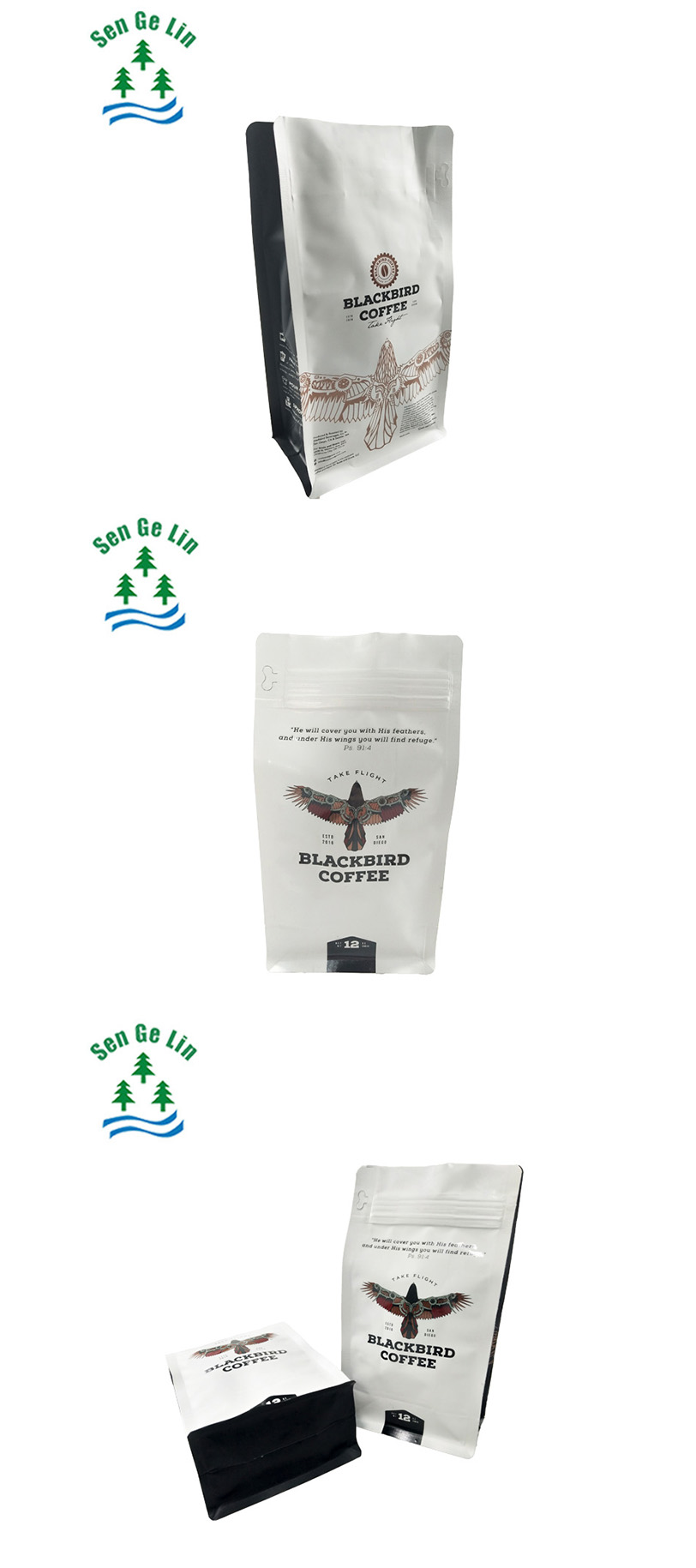 China supplier high quality and stylish custom printed resealable zipper side gusset aluminum foil flat bottom coffee bag