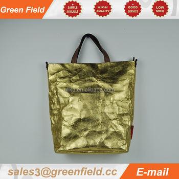 2017 New Style Golden Washable Kraft Paper Handbag Model Handbags
