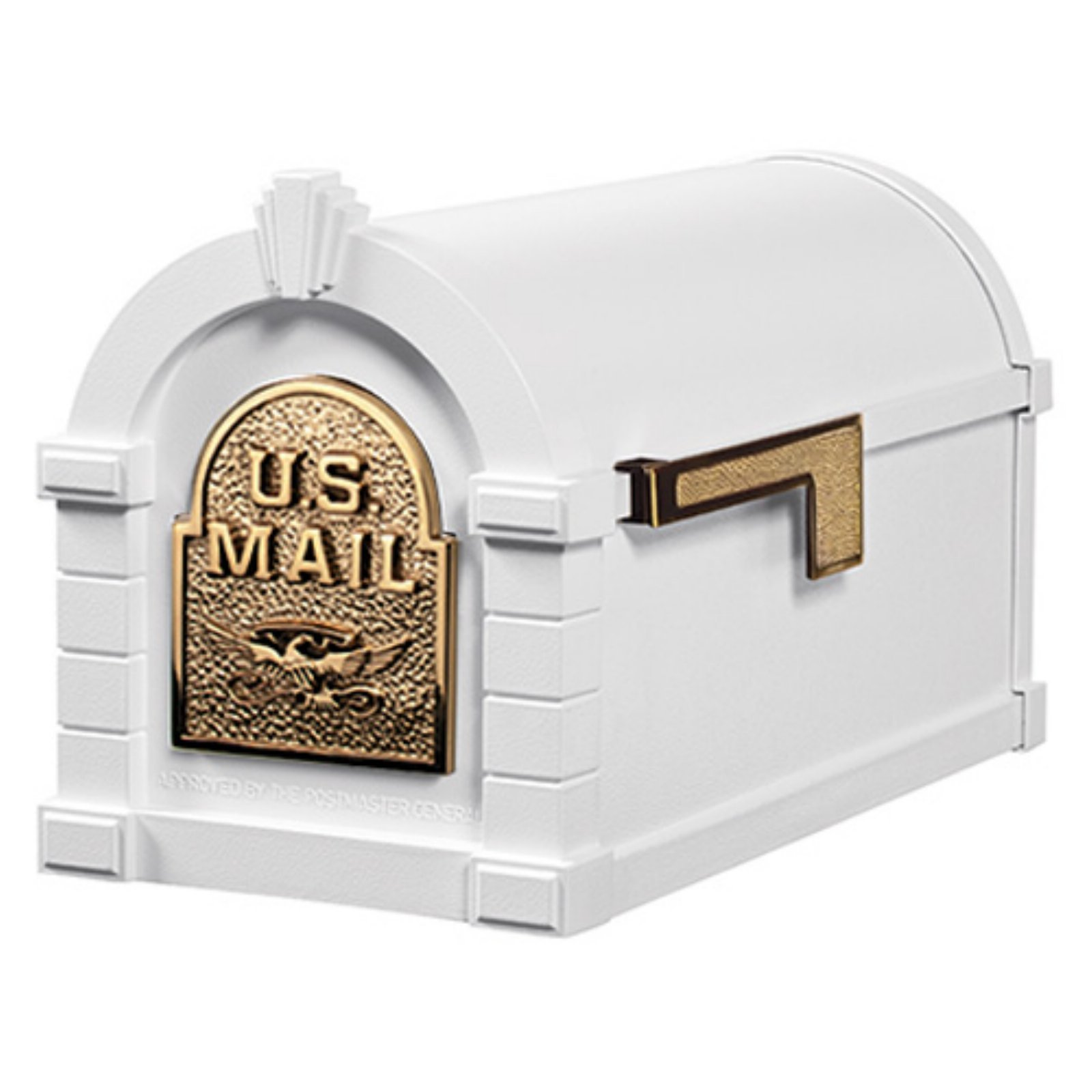 Gaines Original Series Keystone Mailbox In White And Polished Brass