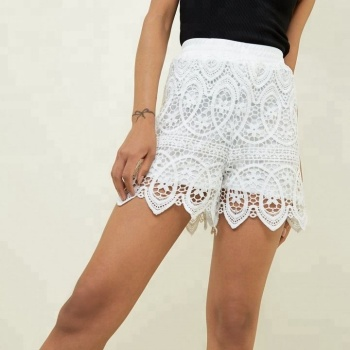 2019 Ladies White Shirred Waist Crochet Lace Shorts Buy Crochet