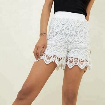 2019 Damas Blanco Cintura Fruncida De Encaje De Ganchillo Pantalones Cortos Buy Pantalones Cortos De Encaje De Ganchillo,Pantalones Cortos