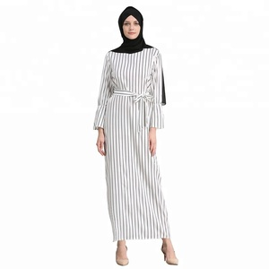 Fashion muslim women stripe long abaya dress islamic clothing