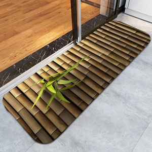Bamboo 3D creative printing antislip mat cushion soft foot mat floor ground protection rug mat