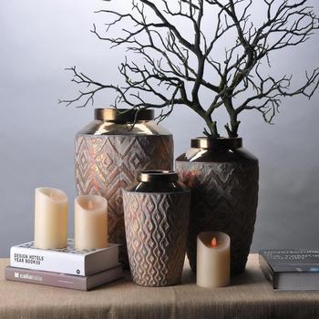 Vintage Stylish Hand Carved Embossed Arabic Big Floor Flower Vase
