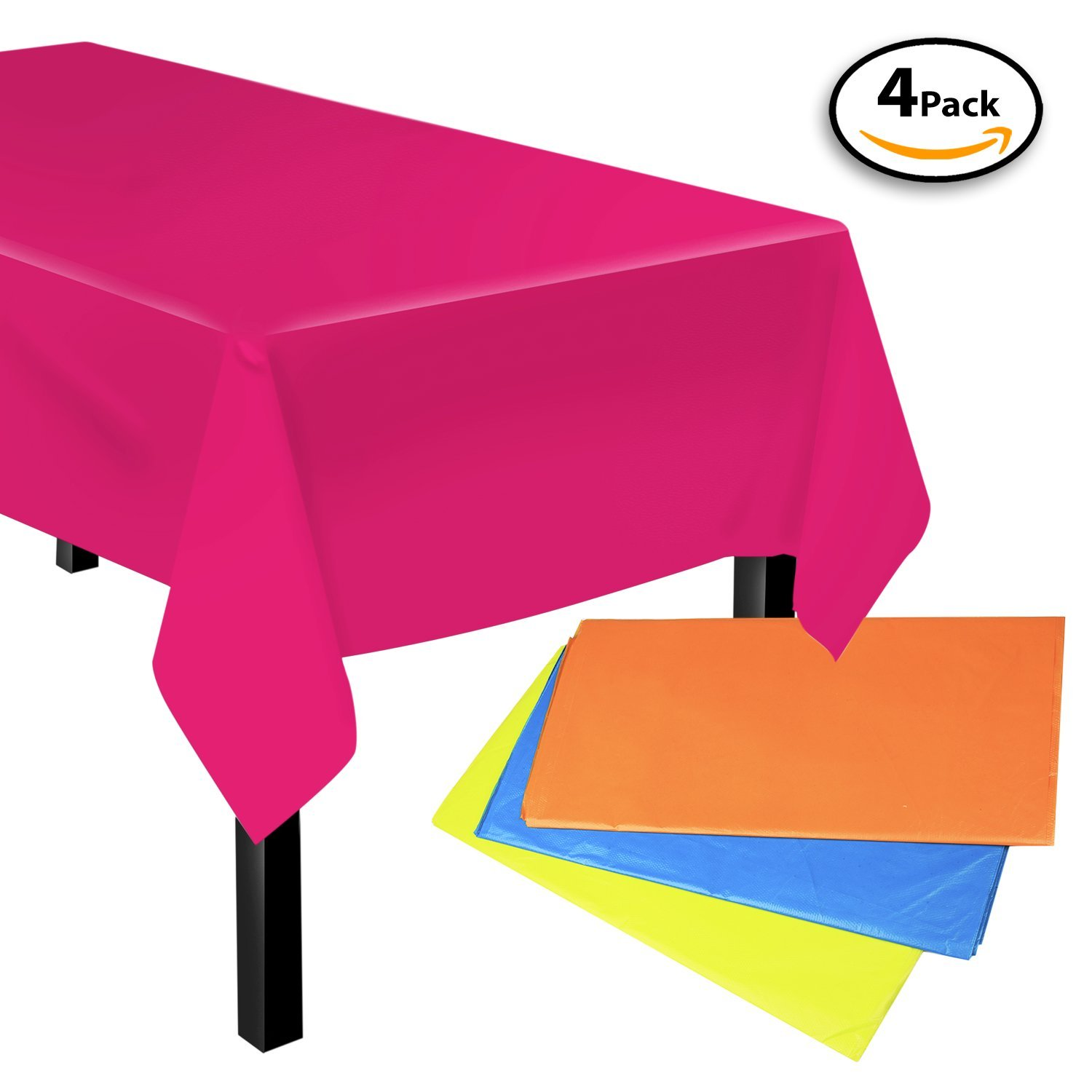 """Set of 4 - Premium Tablecloths Rectangle Table Covers Disposable Table Cloths for Parties, Holiday, Thanksgiving, Christmas, Picnics, 54"""" X 108"""","""
