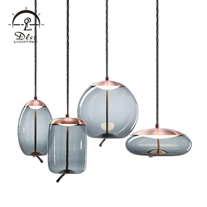 Best selling blue interior contracted art led iron glass pendant light