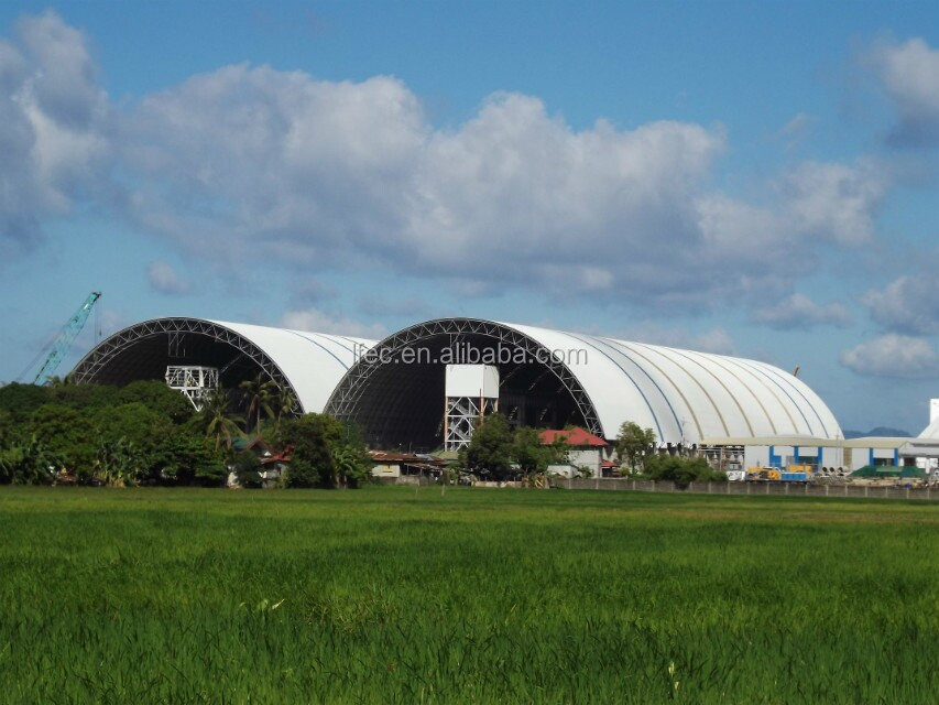 High quality prefabricated barrel coal storage steel structure shed design