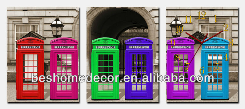 colorful photo telephone booth from UK decoration clocks for sale