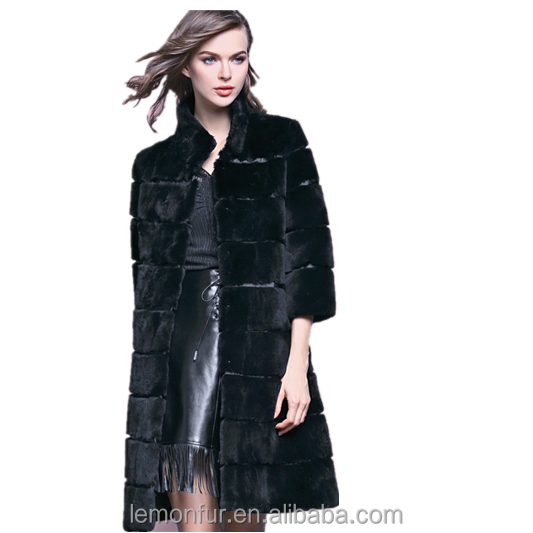 2016 new fashion overcoat ladies rabbit fur coat