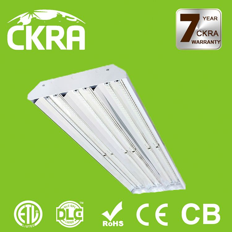 DLC and ETL listed 5 years warranty LED linear high bay light with wire guard glass cover PMMA