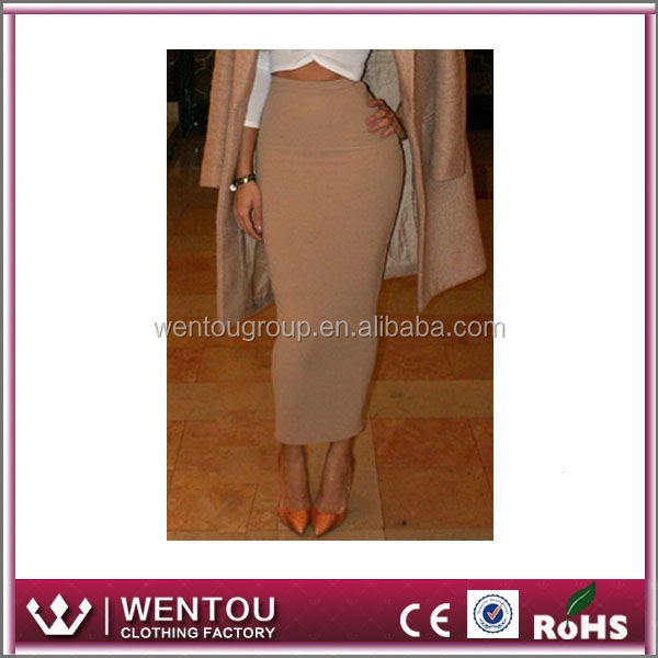 Single Color Women Polyester Long Pencil Skirt