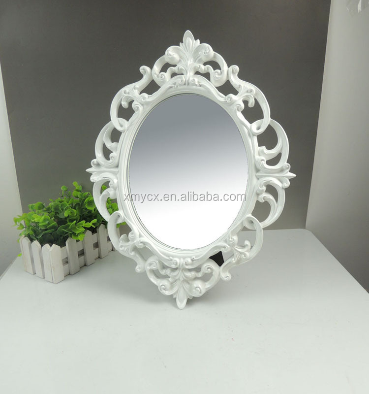 Resin baroque design blue oval mirror frame buy oval for Plastic baroque mirror
