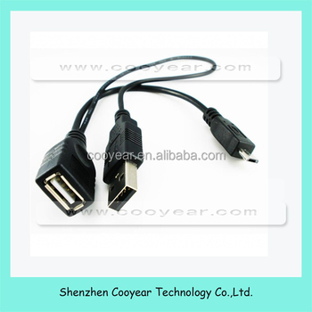 Micro USB Male To USB Female Host OTG Cable + Micro USB Adapter Y Splitter
