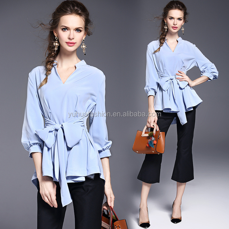2017 New Summer V-neck Woman Chiffon Blouse Ladies Chiffon Shirt Top