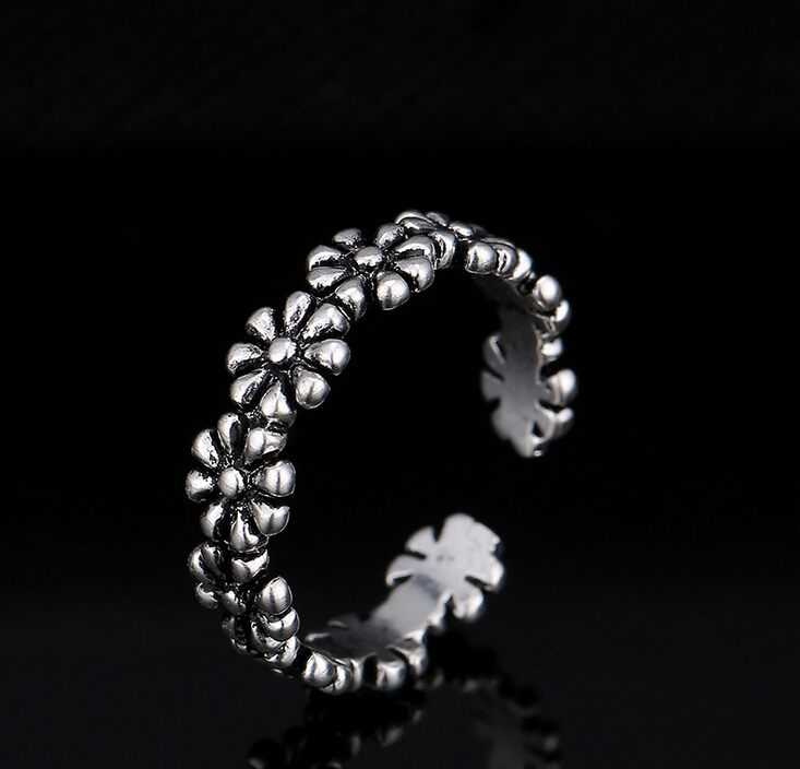 Newest style fashion top sale metal antique silver flower graduation rings