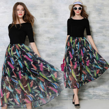 STKKOO Wholesale Half Sleeve Feathers Print Half Transparent Knit Top Patchwork Big Bottom Casual Elegant Long Dress