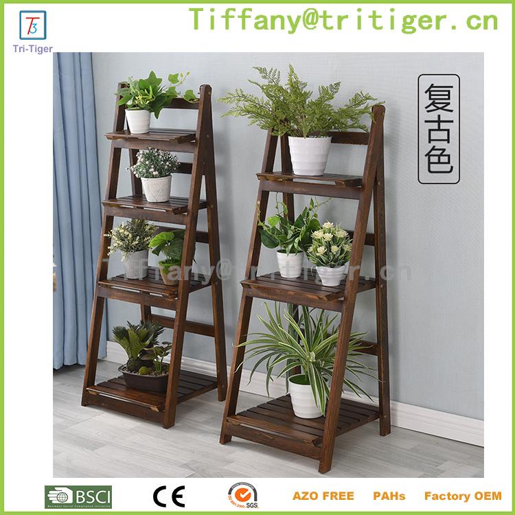 decorativos macetas de madera stands plegable maceta estante