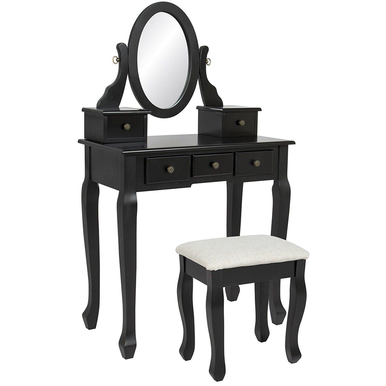 Zwart Hout Meisjes Mirrored Slaapkamer Dressing Groothandel Make Vanity Tafel