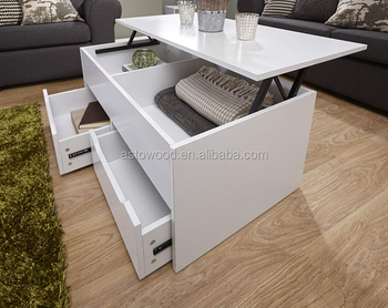 Ultimate Storage Lift Up Coffee Tea Table Split Level Top With Large E In White End Side Product On